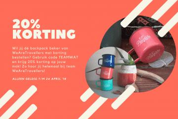 20% korting backpack beker wearetravellers emaille mok