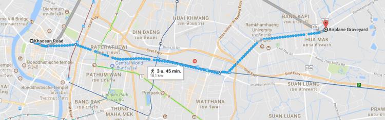 Airplane Graveyard Bangkok kaart