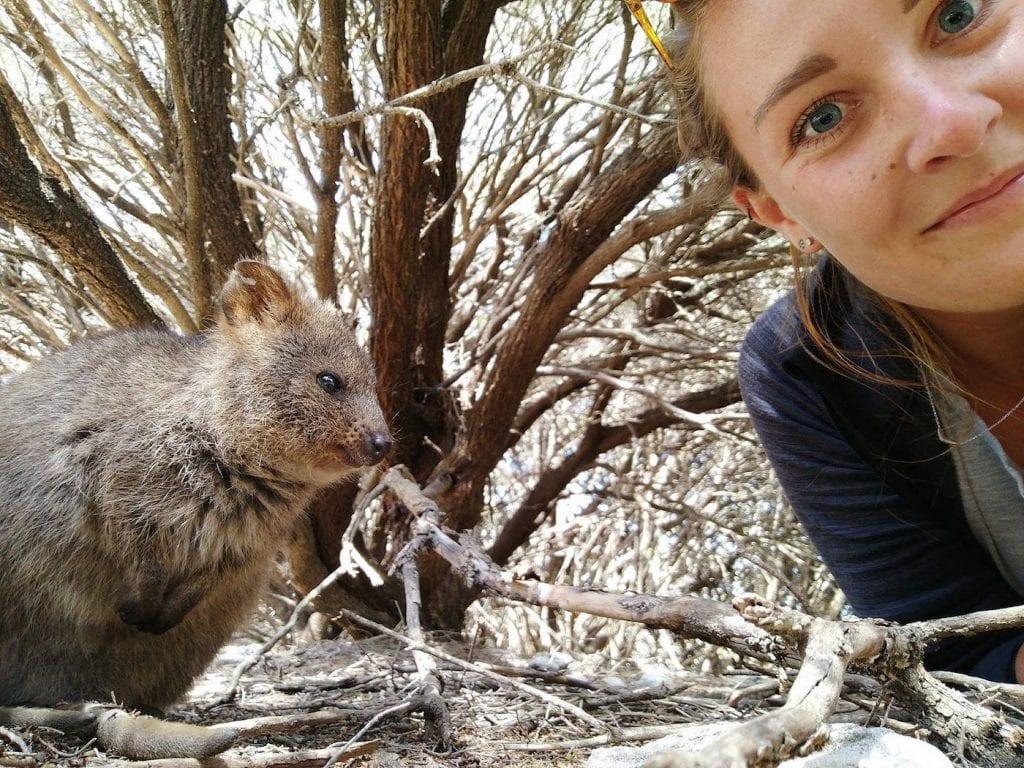 Alleen backpacken australie Quakka selfie in rottnest island