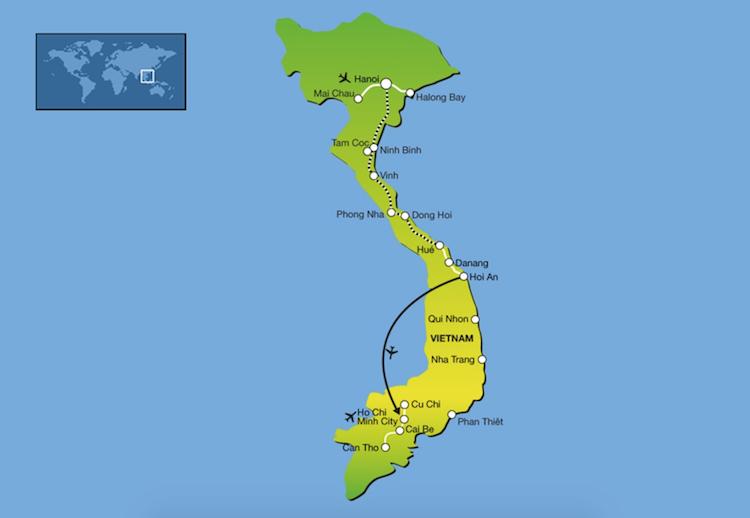 Alleen naar Vietnam route single groepsreizen