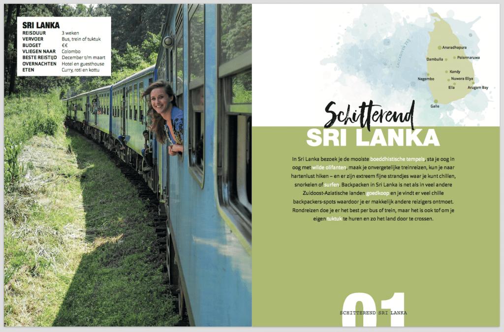 Backpack Bestemmingen boek eerste hoofdstuk Sri Lanka inkijkexemplaar