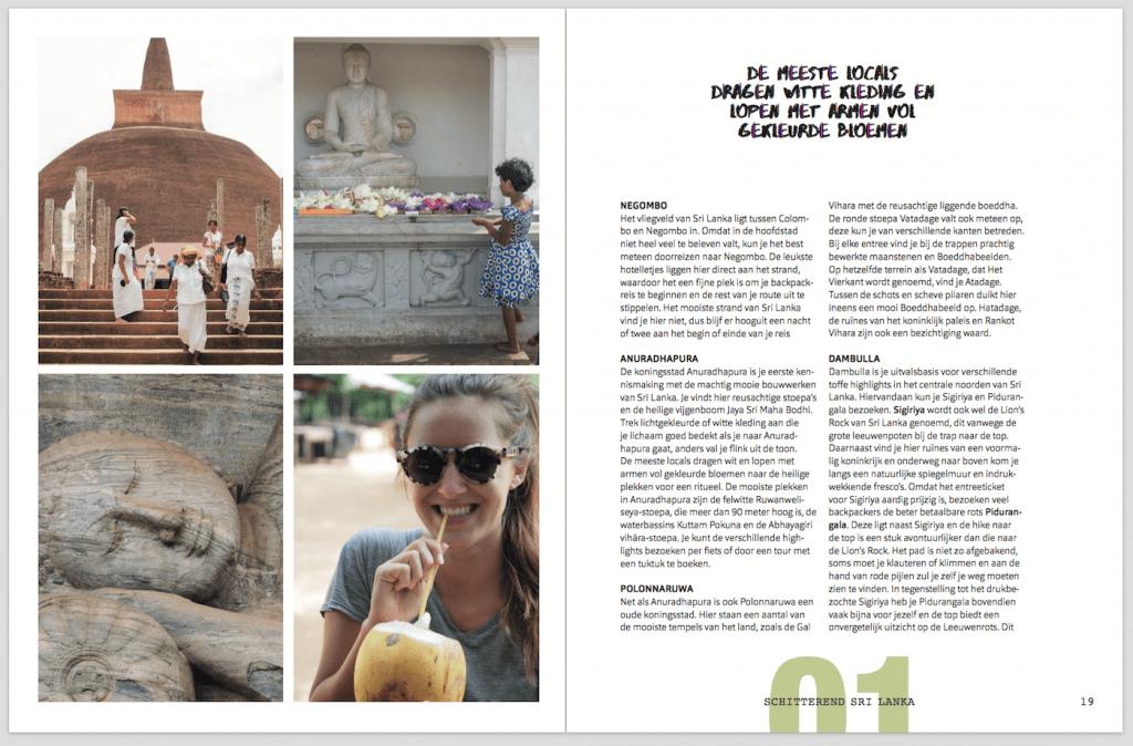 Backpack bestemmingen boek inkijkexemplaar Sri Lanka