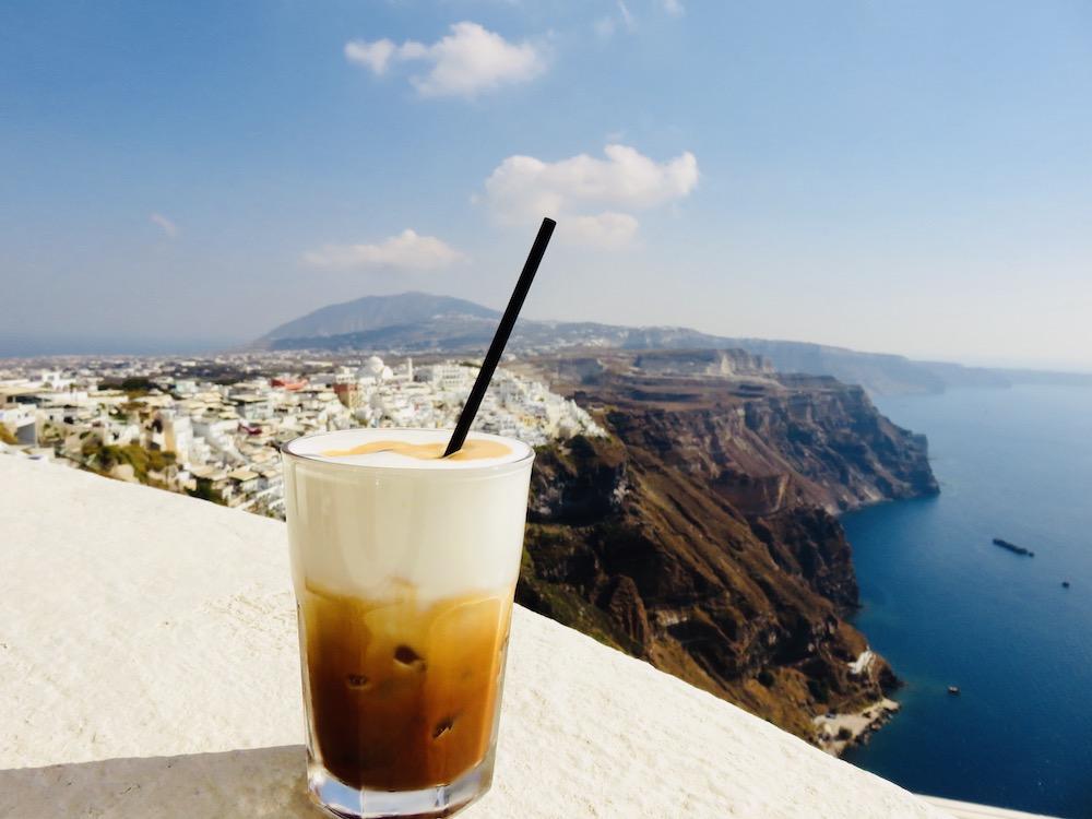 Cycladen eilanden, lokale koffie Santorini