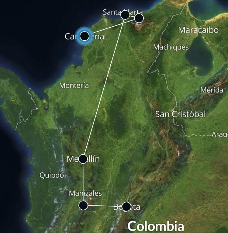 Colombia reisroute 21 dagen 3 weken kaart route