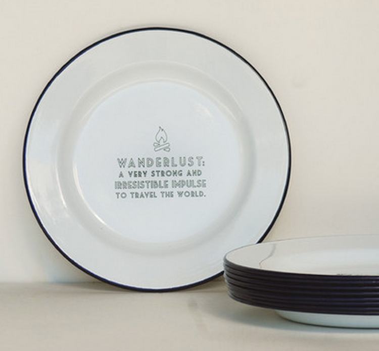 Emaille bord wanderlust emaille servies