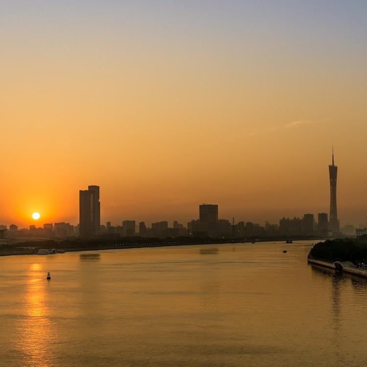 Guangzhou china zonsondergang