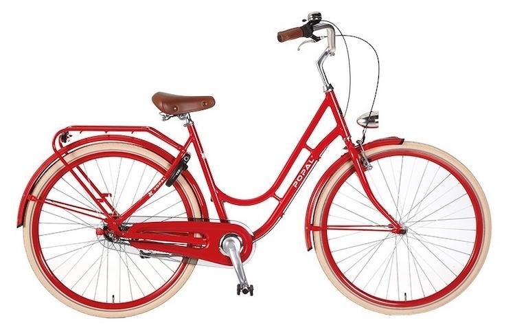 Hippe fiets van Popal in rood