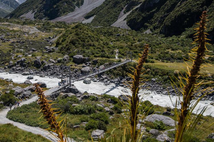 Hooker Valley Track Nieuw Zeeland begin dichtbij Lake Pukaki