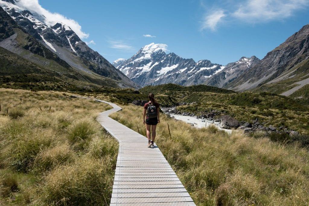 Hooker Valley Track Nieuw Zeeland loop pad Mount Cook