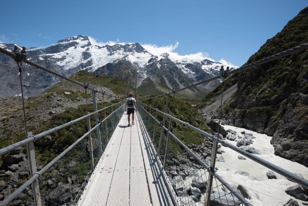 Hooker Valley Track Nieuw Zeeland loopbrug twee