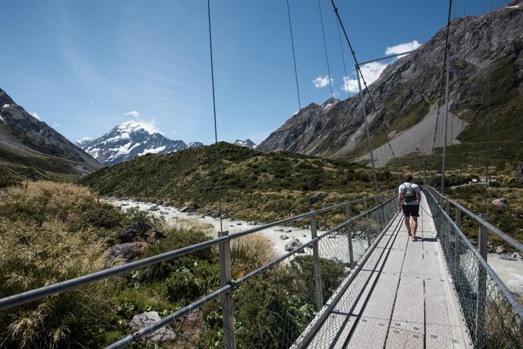 Hooker Valley Track Nieuw Zeeland loopbrug
