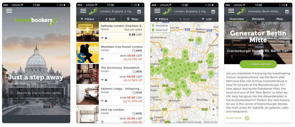 Hostel app Hostelbookers