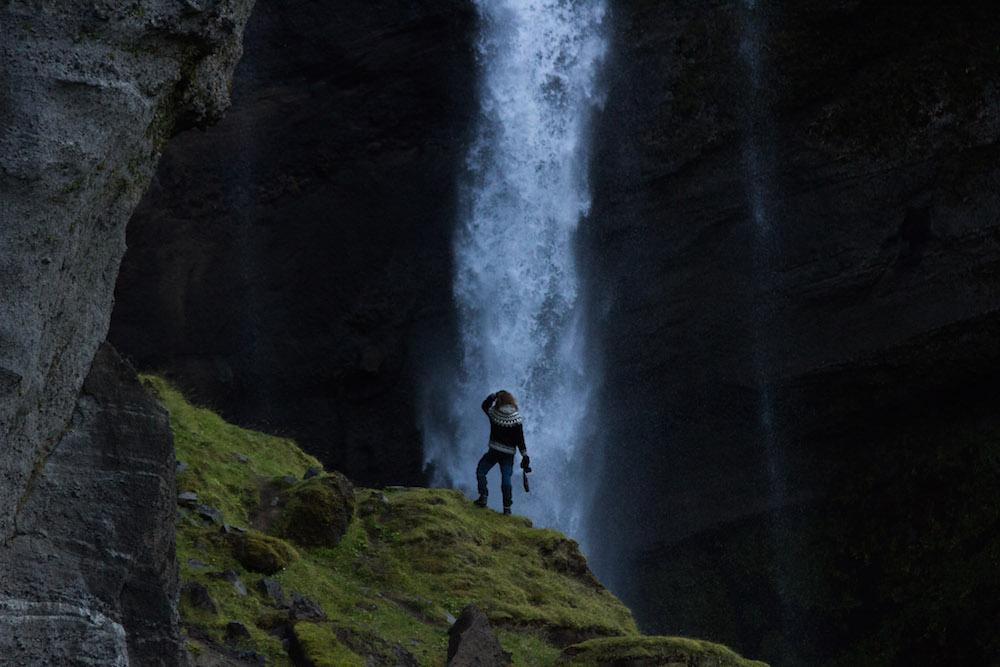 ijsland foto's waterval
