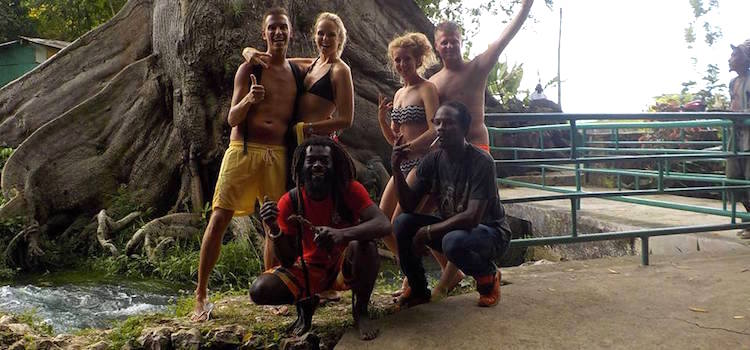 Jamaica friendly rastas and tourists