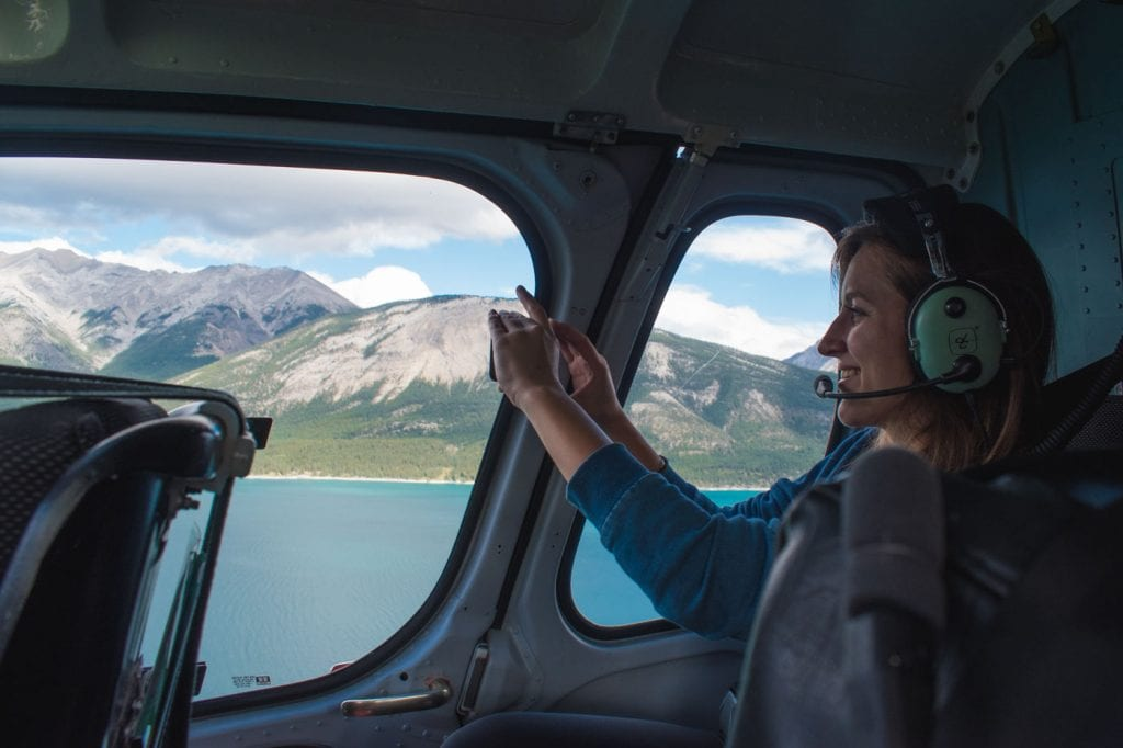 Jasper National Park Canada helicopter tijdens vlucht