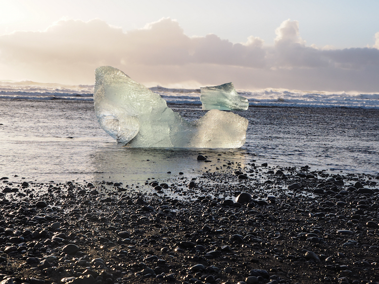 Jökulsárlón gletsjermeer Jökulsárlón beach