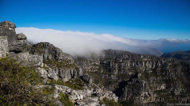 Kaapstad tafelberg wolken op de top