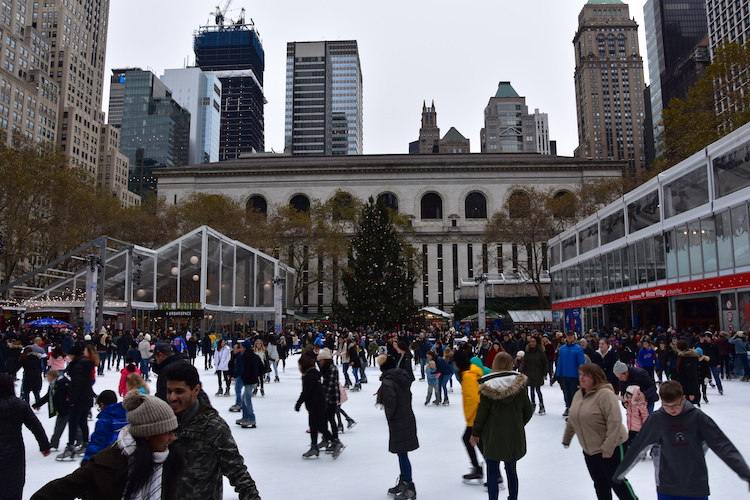 Kerst in New York kerstmarkt Bryant Park
