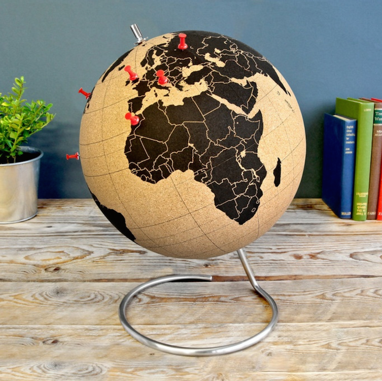 Kurken wereldbol cadeau reiziger