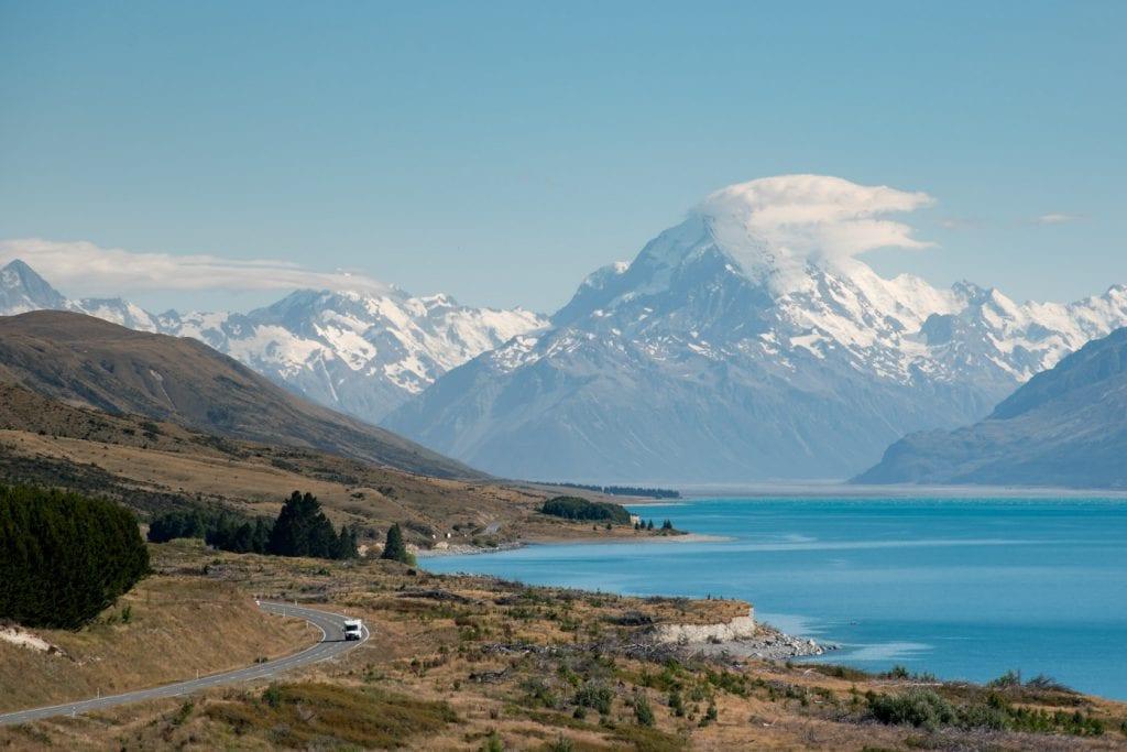 Lake Pukaki Nieuw Zeeland mount cook