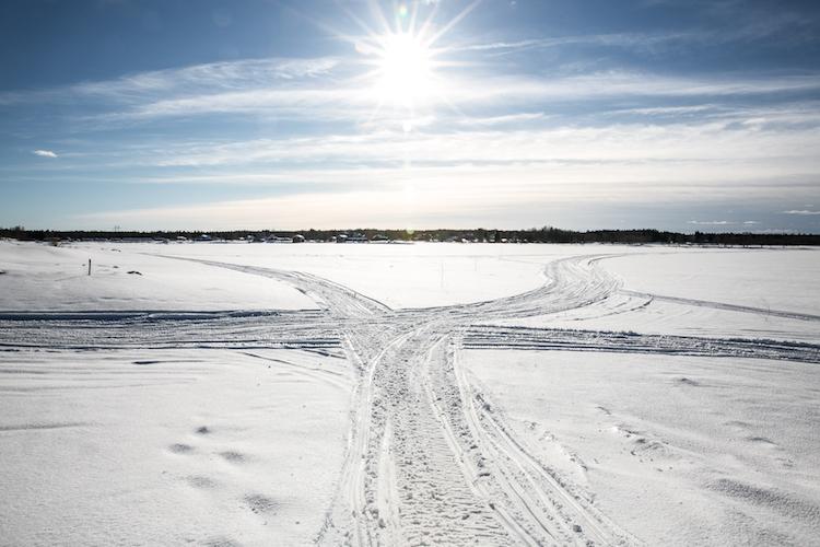Lapland zon sneeuwvlakte