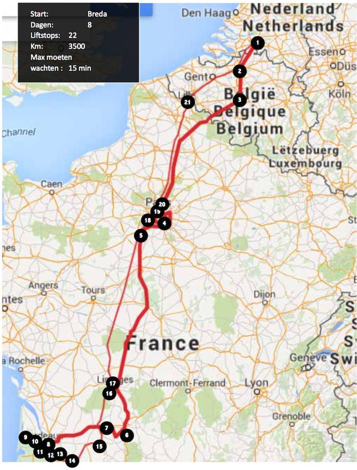 Liften naar frankrijk route