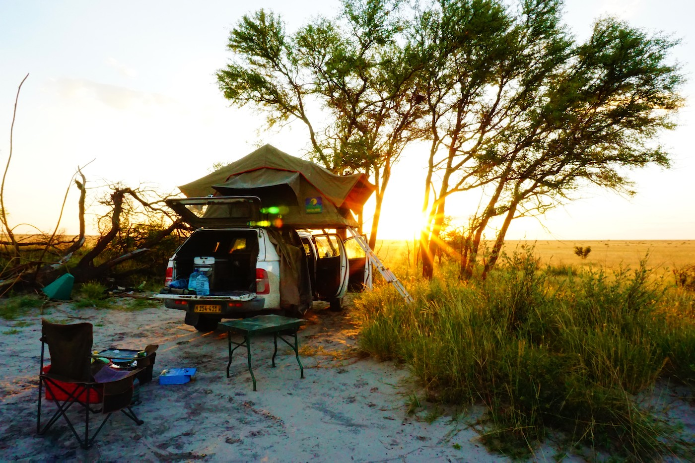 Makgadikgadi pans Botswana kamperen tentdak