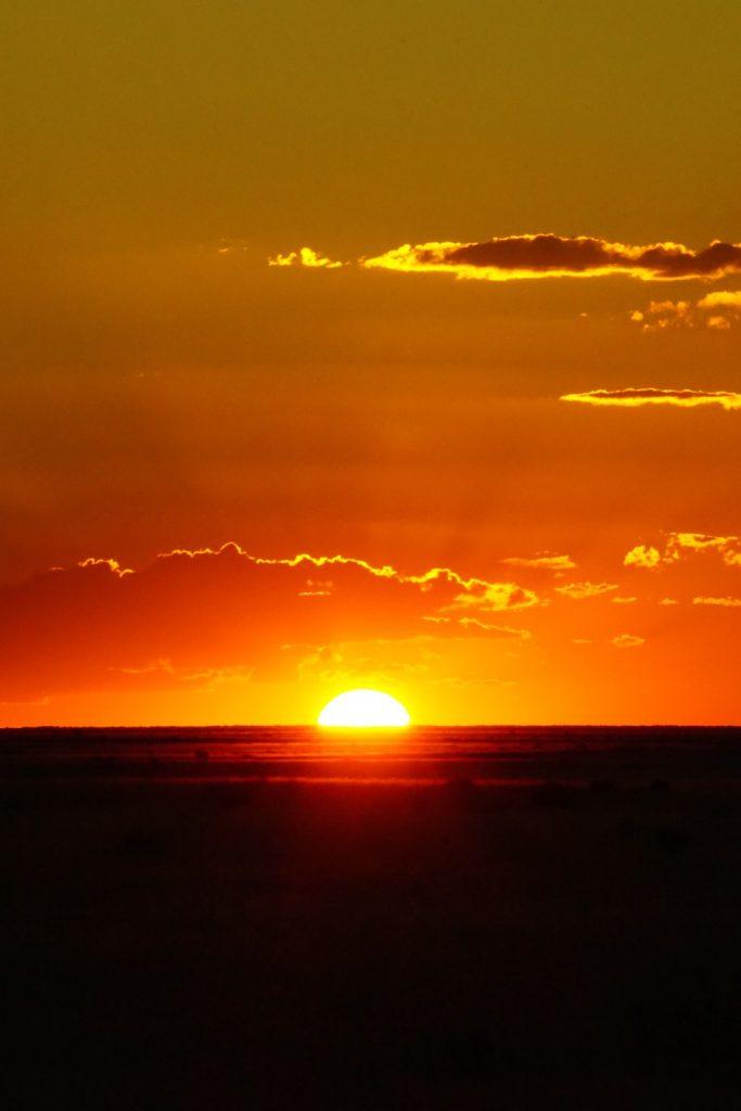 Makgadikgadi zonsondergang Botswana