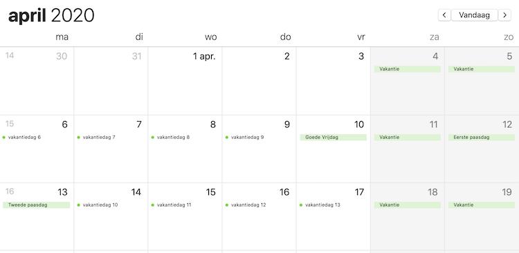 Meer vakantiedagen 2020 vrije dagen april