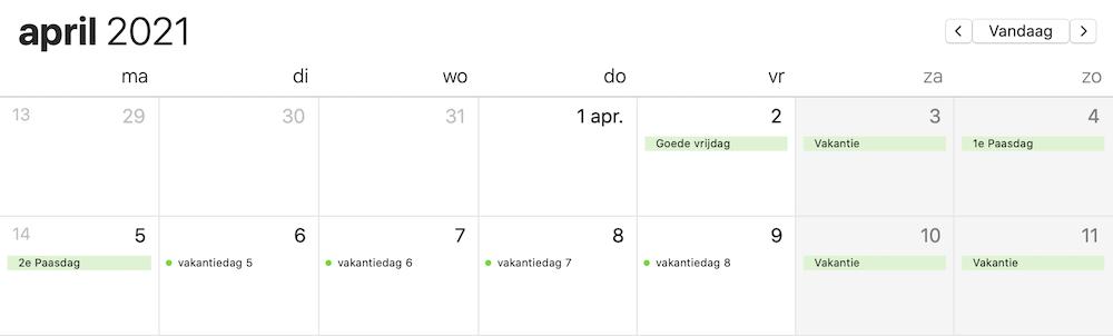 Meer vakantiedagen 2021 april