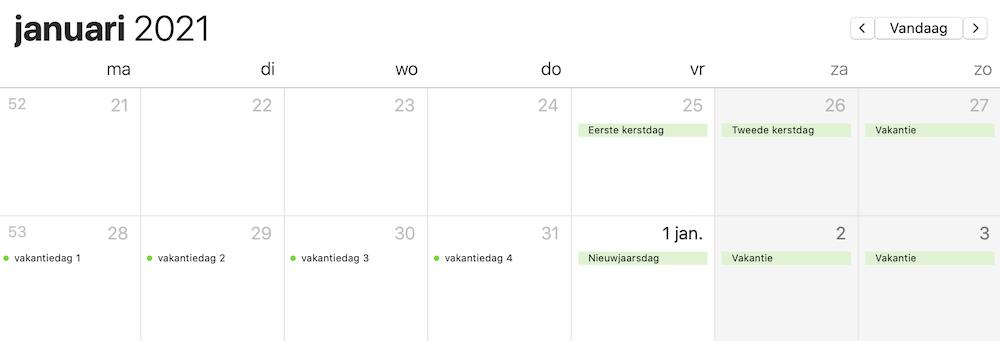Meer vakantiedagen 2021 januari