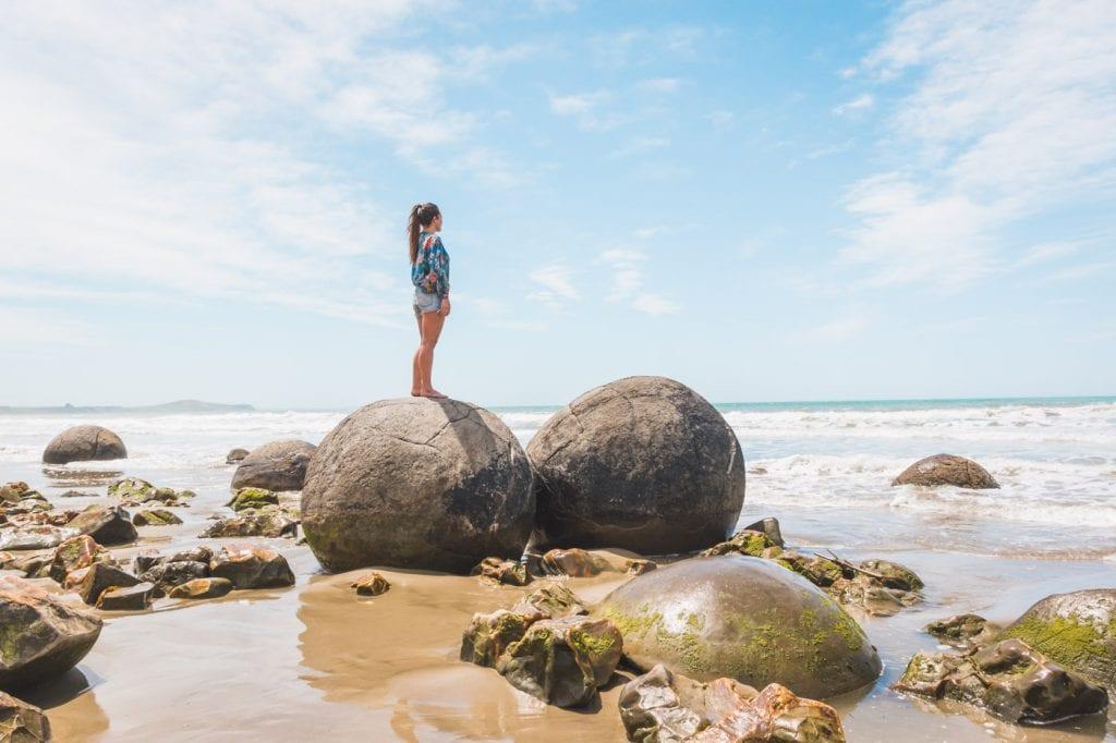 Moeraki Boulders Nieuw-Zeeland strand