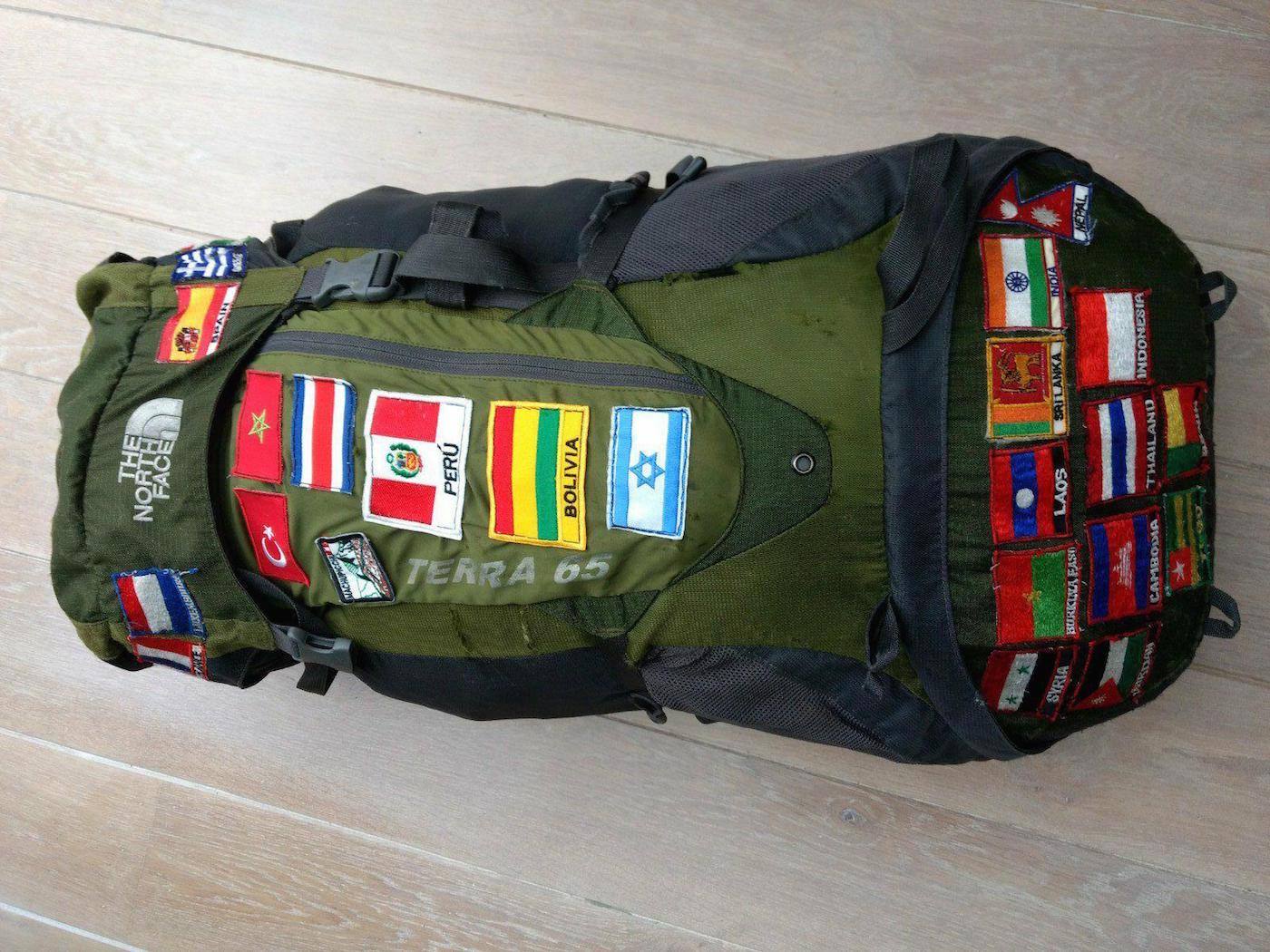 North Face Backpack van Linda backpack vlaggen