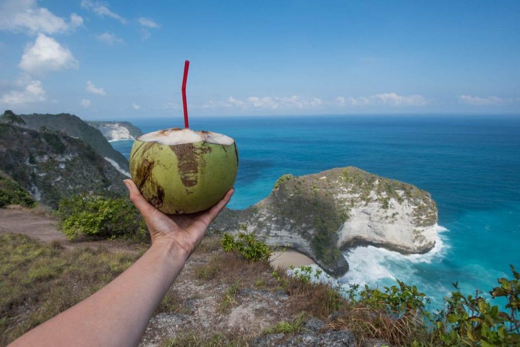 Nusa Penida Bali uitzicht op kelinkgking kokosoot