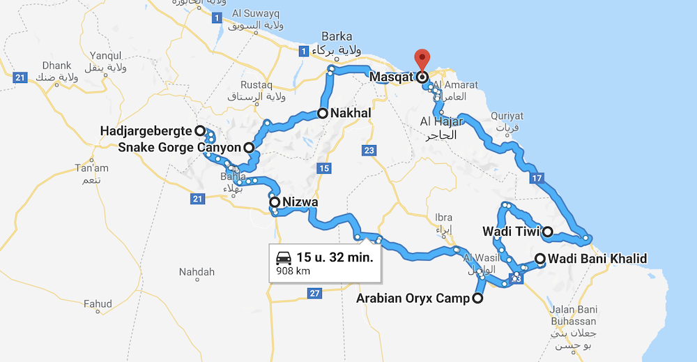 Oman Rondreis route
