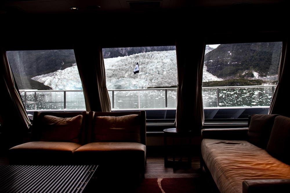 Patagonie cruise gletsjer vanuit raam