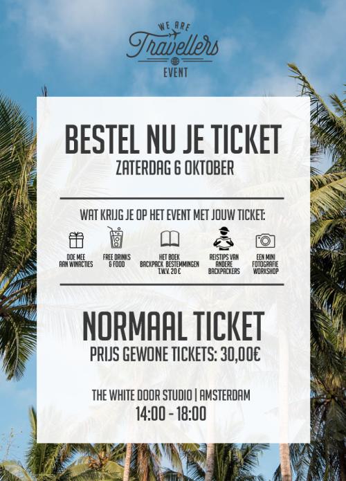 Prijs gewone tickets 30 euro WeAreTravellers event
