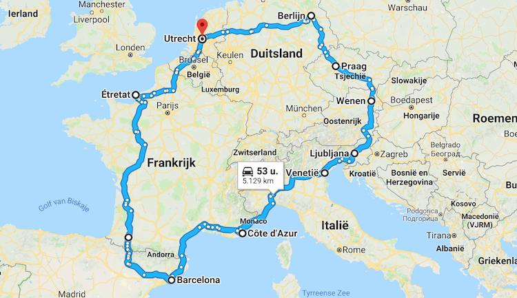 Roadtrip Europa route