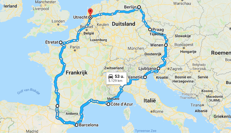 Roadtrip Europa route