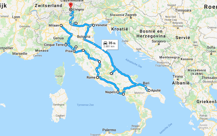 Roadtrip Italie route