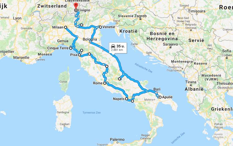 Roadtrip Italie route