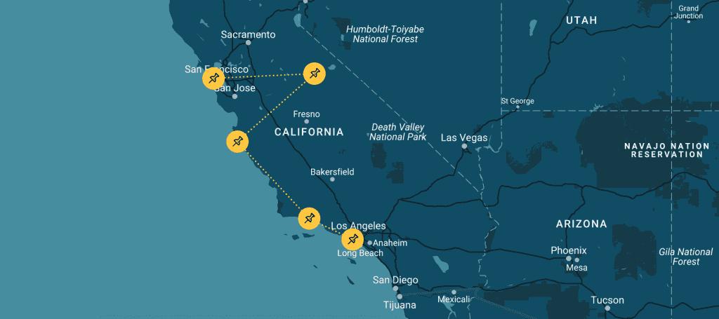 Route die werd afgelegd tijdens deze roadtrip californie
