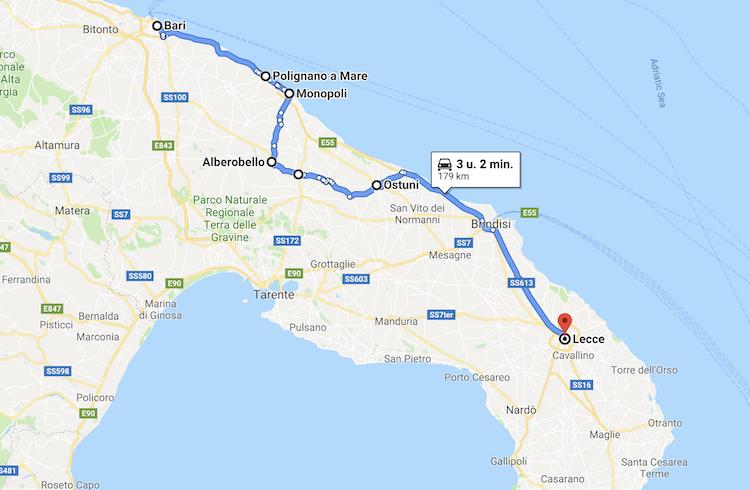 Route rondreis Puglia