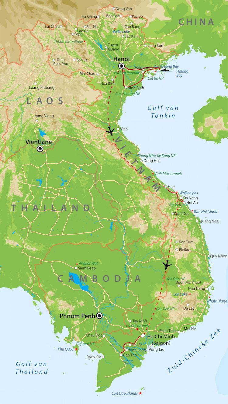 Route vietnam 2 weken van verre