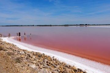 Roze meer in frankrijk bij aigues mortes