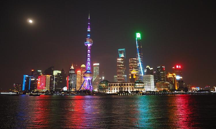 Shanghai skyline avond