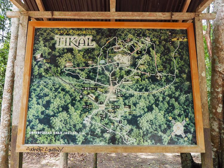 Tikal Guatemala kaart