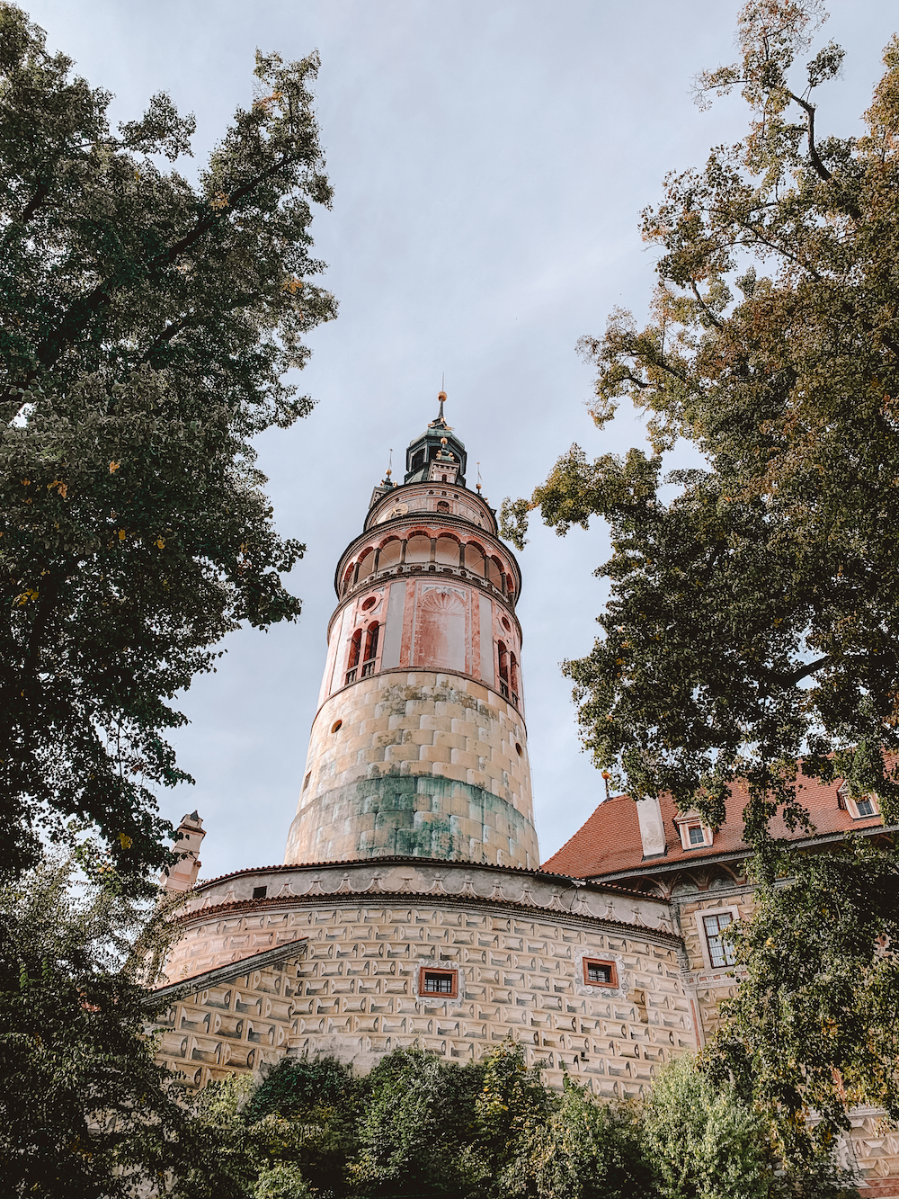 Toren van het kasteel van Cesky Krumlov