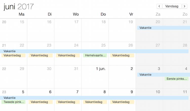 Vakantiedagen Hemelvaart en Pinksteren 2017