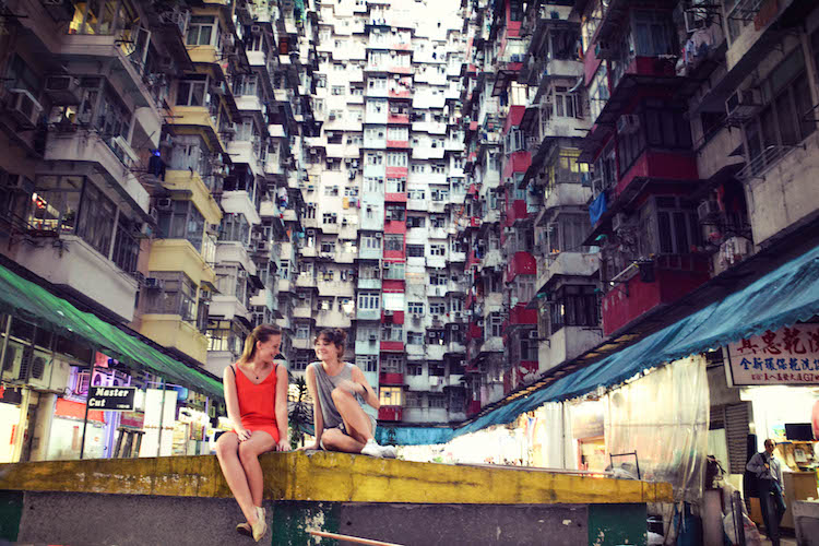 Zitten tussen de Quarry Bay Buildings Hong Kong